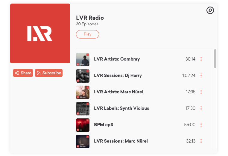 LVR Podcast player